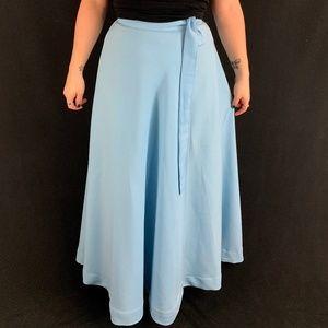 70s Baby Blue Maxi Wrap Skirt